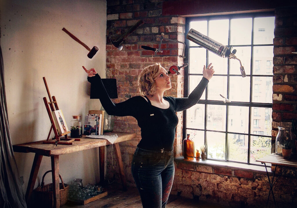 Artist Kim Thomson juggles her jewellery equipment and tools.